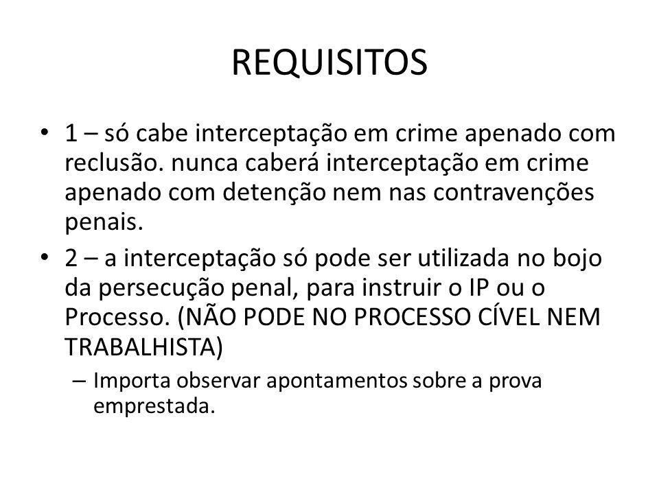 REQUISITOS 1 – só cabe interceptação em crime apenado com reclusão. nunca caberá interceptação em crime apenado com detenção nem nas contravenções pen