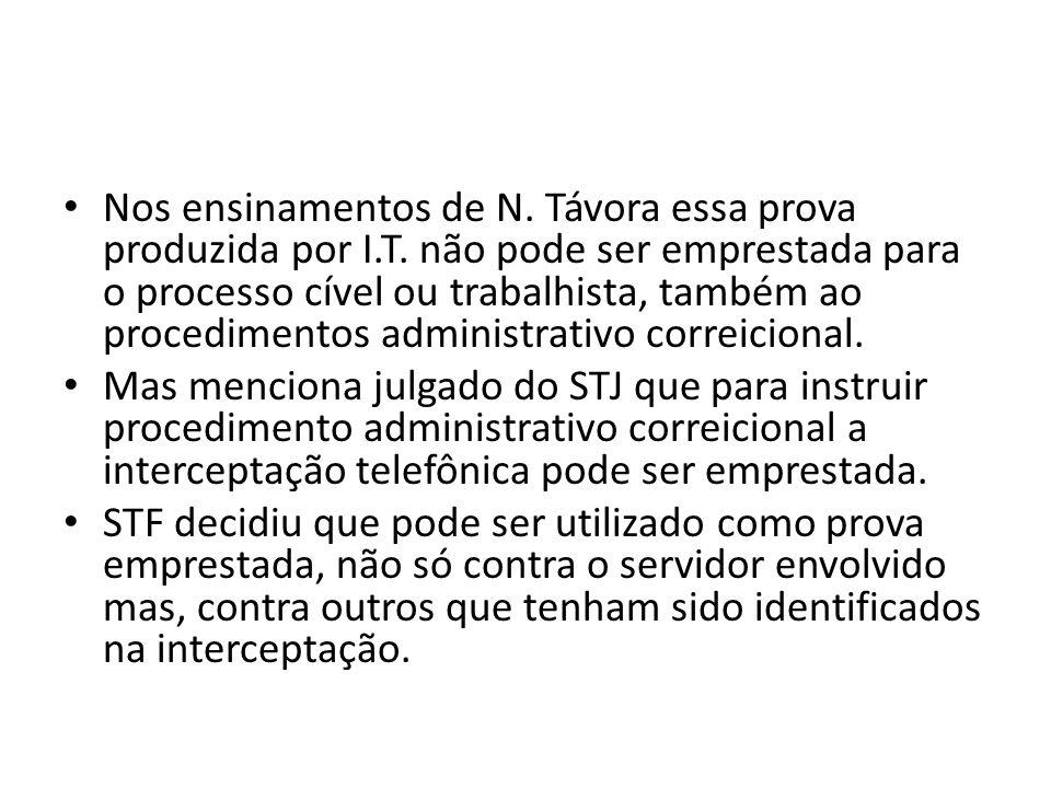 Nos ensinamentos de N. Távora essa prova produzida por I.T. não pode ser emprestada para o processo cível ou trabalhista, também ao procedimentos admi