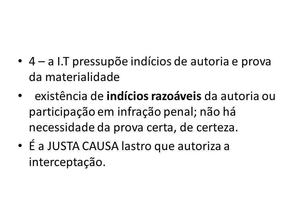 4 – a I.T pressupõe indícios de autoria e prova da materialidade existência de indícios razoáveis da autoria ou participação em infração penal; não há