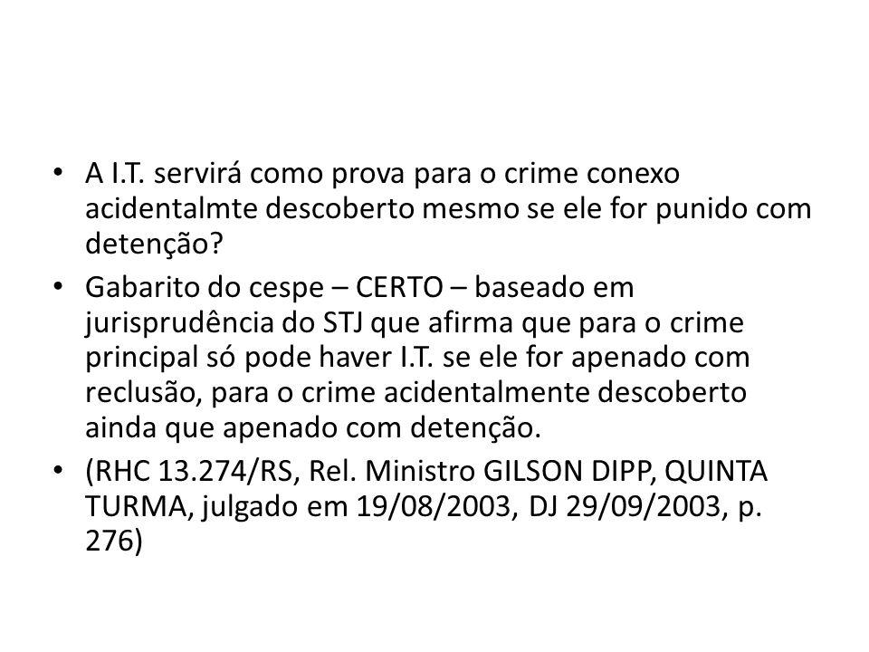 A I.T. servirá como prova para o crime conexo acidentalmte descoberto mesmo se ele for punido com detenção? Gabarito do cespe – CERTO – baseado em jur