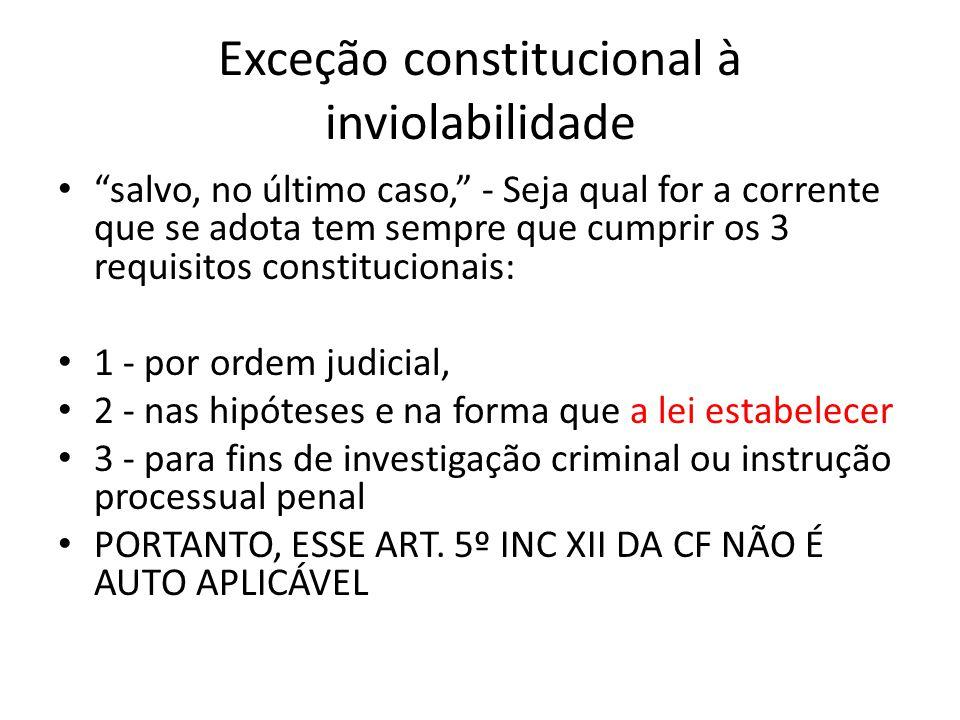 Exceção constitucional à inviolabilidade salvo, no último caso, - Seja qual for a corrente que se adota tem sempre que cumprir os 3 requisitos constit