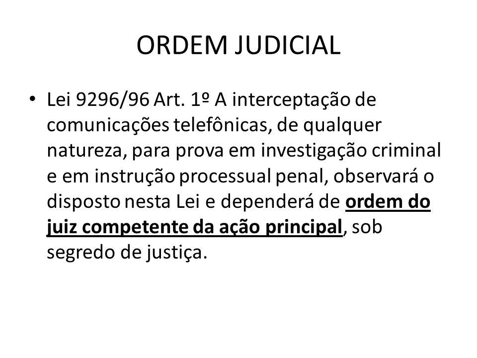ORDEM JUDICIAL Lei 9296/96 Art. 1º A interceptação de comunicações telefônicas, de qualquer natureza, para prova em investigação criminal e em instruç
