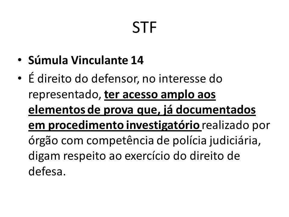 STF Súmula Vinculante 14 É direito do defensor, no interesse do representado, ter acesso amplo aos elementos de prova que, já documentados em procedim