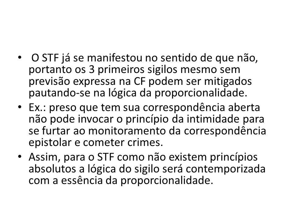 O STF já se manifestou no sentido de que não, portanto os 3 primeiros sigilos mesmo sem previsão expressa na CF podem ser mitigados pautando-se na lóg