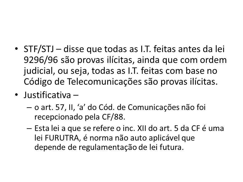 NATUREZA JURÍDICA DE INTERCEPTAÇÃO TELEFÔNICA A interceptação telefônica pode ser: MEDIDA CAUTELAR PREPARATÓRIA - quando decretada na fase da investigação criminal.