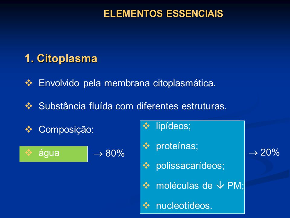 1. Citoplasma Envolvido pela membrana citoplasmática. Substância fluída com diferentes estruturas. Composição: água 20% 80% lipídeos; proteínas; polis