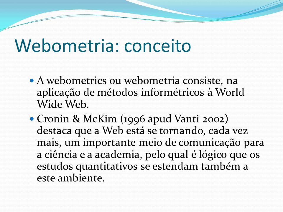Webometria: conceito A webometrics ou webometria consiste, na aplicação de métodos informétricos à World Wide Web. Cronin & McKim (1996 apud Vanti 200