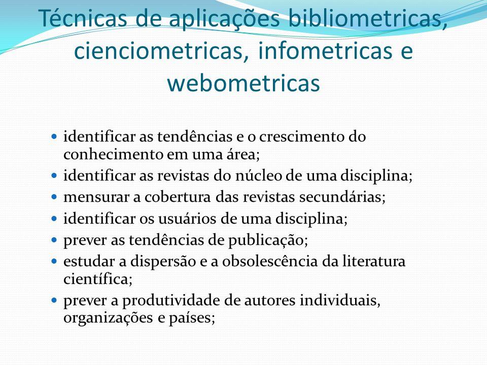 Técnicas de aplicações bibliometricas, cienciometricas, infometricas e webometricas identificar as tendências e o crescimento do conhecimento em uma á