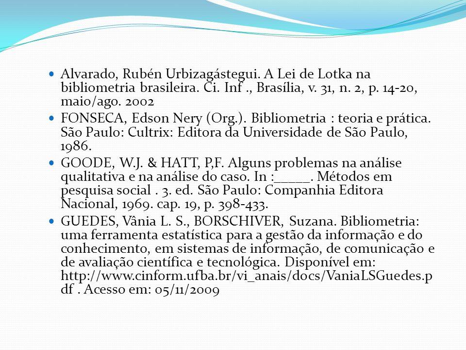 Alvarado, Rubén Urbizagástegui. A Lei de Lotka na bibliometria brasileira. Ci. Inf., Brasília, v. 31, n. 2, p. 14-20, maio/ago. 2002 FONSECA, Edson Ne