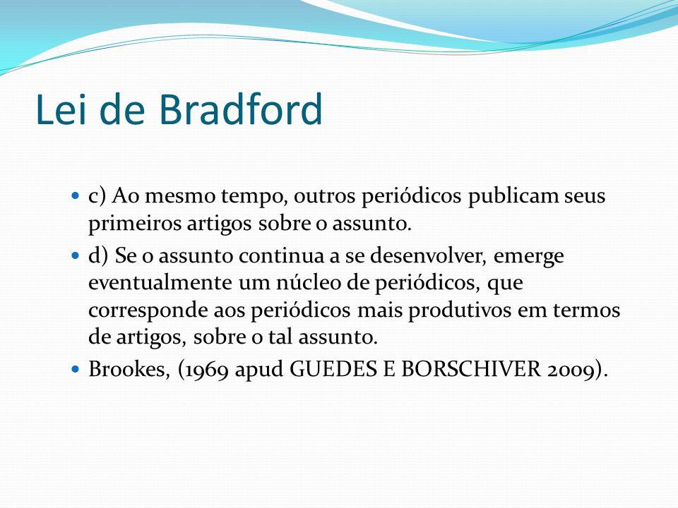 Lei de Bradford c) Ao mesmo tempo, outros periódicos publicam seus primeiros artigos sobre o assunto. d) Se o assunto continua a se desenvolver, emerg