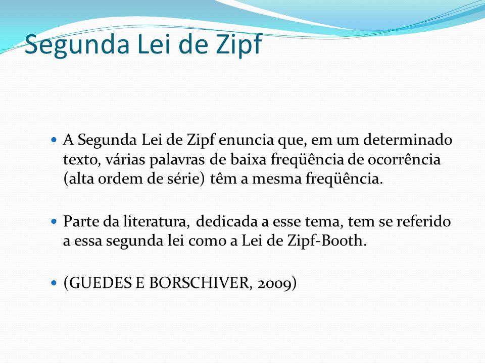 Segunda Lei de Zipf A Segunda Lei de Zipf enuncia que, em um determinado texto, várias palavras de baixa freqüência de ocorrência (alta ordem de série