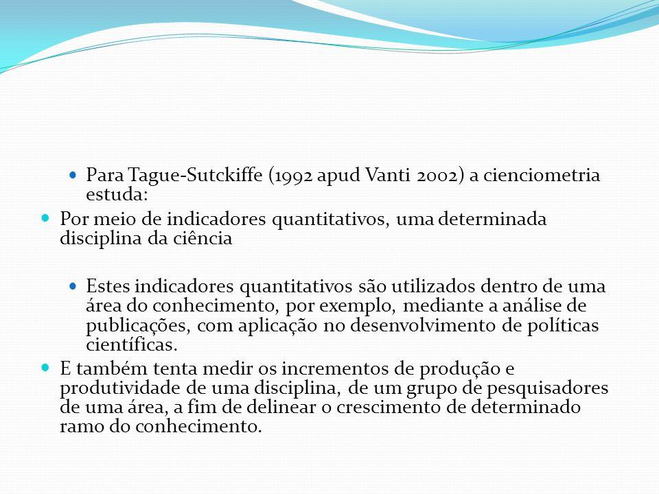 Para Tague-Sutckiffe (1992 apud Vanti 2002) a cienciometria estuda: Por meio de indicadores quantitativos, uma determinada disciplina da ciência Estes