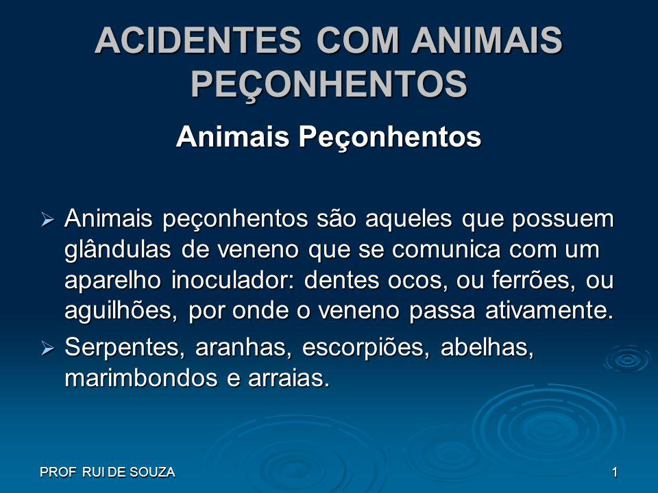 PROF RUI DE SOUZA1 ACIDENTES COM ANIMAIS PEÇONHENTOS Animais Peçonhentos Animais peçonhentos são aqueles que possuem glândulas de veneno que se comuni