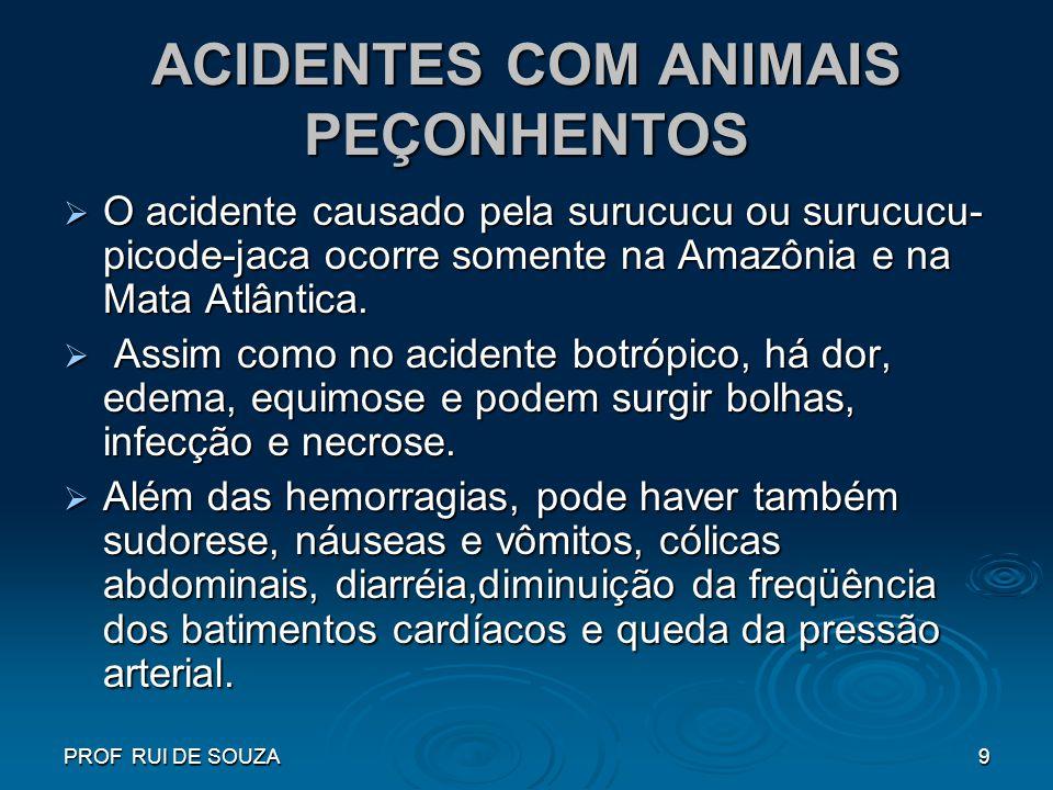 PROF RUI DE SOUZA9 ACIDENTES COM ANIMAIS PEÇONHENTOS O acidente causado pela surucucu ou surucucu- picode-jaca ocorre somente na Amazônia e na Mata At