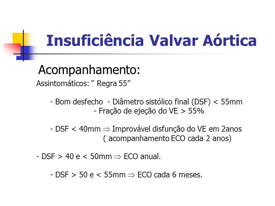 Insuficiência Valvar Aórtica Acompanhamento: Assintomáticos: Regra 55 - Bom desfecho - Diâmetro sistólico final (DSF) < 55mm - Fração de ejeção do VE