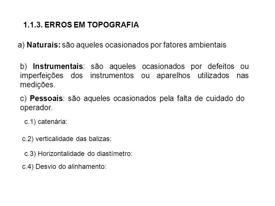 1.1.3. ERROS EM TOPOGRAFIA a) Naturais: são aqueles ocasionados por fatores ambientais b) Instrumentais: são aqueles ocasionados por defeitos ou imper