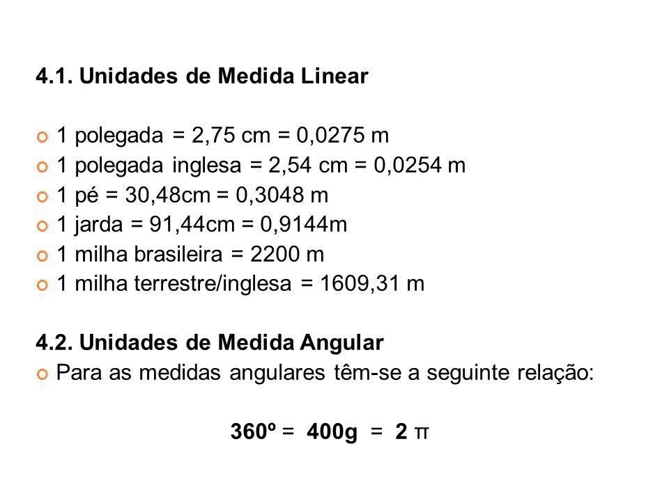 4.1. Unidades de Medida Linear 1 polegada = 2,75 cm = 0,0275 m 1 polegada inglesa = 2,54 cm = 0,0254 m 1 pé = 30,48cm = 0,3048 m 1 jarda = 91,44cm = 0