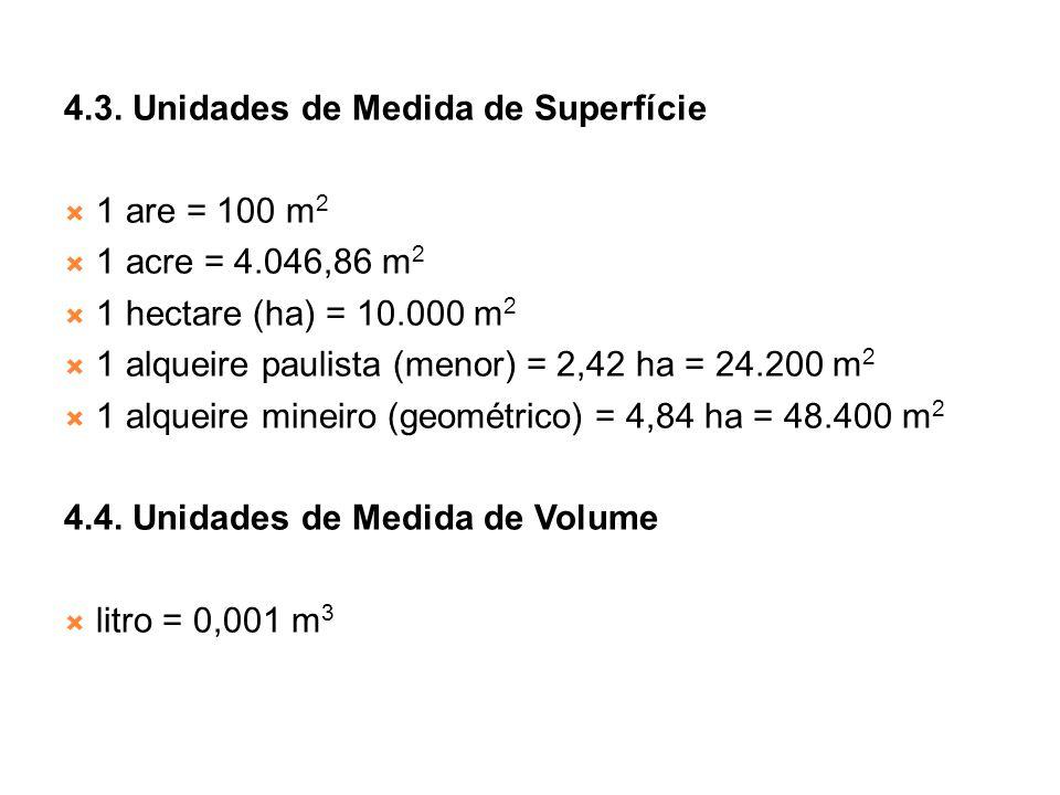 4.3. Unidades de Medida de Superfície 1 are = 100 m 2 1 acre = 4.046,86 m 2 1 hectare (ha) = 10.000 m 2 1 alqueire paulista (menor) = 2,42 ha = 24.200