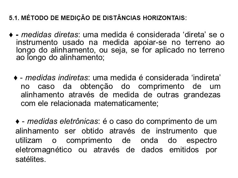 5.1. MÉTODO DE MEDIÇÃO DE DISTÂNCIAS HORIZONTAIS: - medidas diretas: uma medida é considerada direta se o instrumento usado na medida apoiar-se no ter