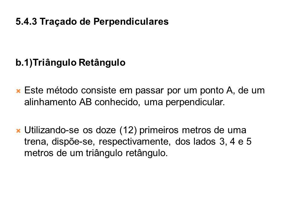 5.4.3 Traçado de Perpendiculares b.1)Triângulo Retângulo Este método consiste em passar por um ponto A, de um alinhamento AB conhecido, uma perpendicu