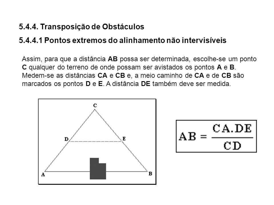 5.4.4. Transposição de Obstáculos 5.4.4.1 Pontos extremos do alinhamento não intervisíveis Assim, para que a distância AB possa ser determinada, escol