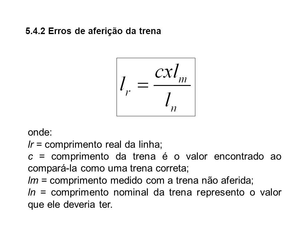 5.4.2 Erros de aferição da trena onde: lr = comprimento real da linha; c = comprimento da trena é o valor encontrado ao compará-la como uma trena corr