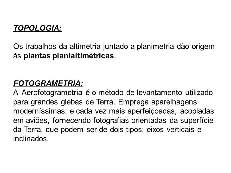 TOPOLOGIA: Os trabalhos da altimetria juntado a planimetria dão origem às plantas planialtimétricas. FOTOGRAMETRIA: A Aerofotogrametria é o método de