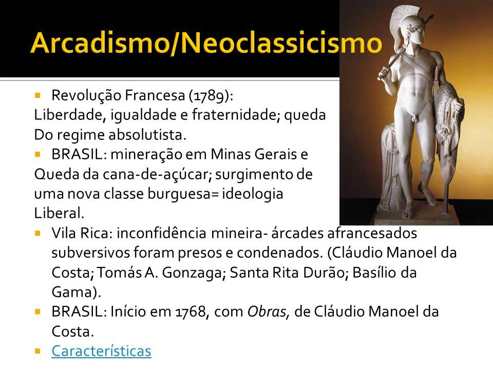 Revolução Francesa (1789): Liberdade, igualdade e fraternidade; queda Do regime absolutista. BRASIL: mineração em Minas Gerais e Queda da cana-de-açúc