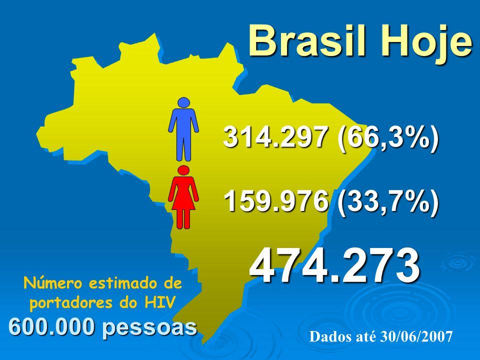 Brasil Hoje 314.297 (66,3%) 159.976 (33,7%) 600.000 pessoas Número estimado de portadores do HIV 600.000 pessoas Dados até 30/06/2007 474.273