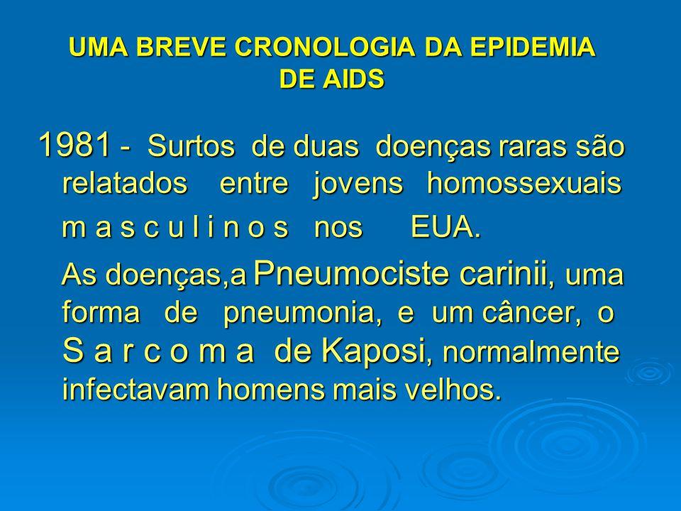 UMA BREVE CRONOLOGIA DA EPIDEMIA DE AIDS 1981 - Surtos de duas doenças raras são relatados entre jovens homossexuais m a s c u l i n o s nos EUA. m a