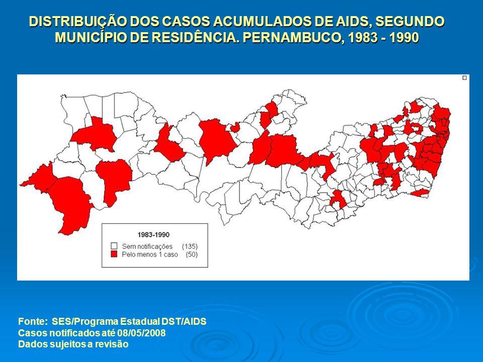 Fonte: SES/Programa Estadual DST/AIDS Casos notificados até 08/05/2008 Dados sujeitos a revisão DISTRIBUIÇÃO DOS CASOS ACUMULADOS DE AIDS, SEGUNDO MUNICÍPIO DE RESIDÊNCIA.