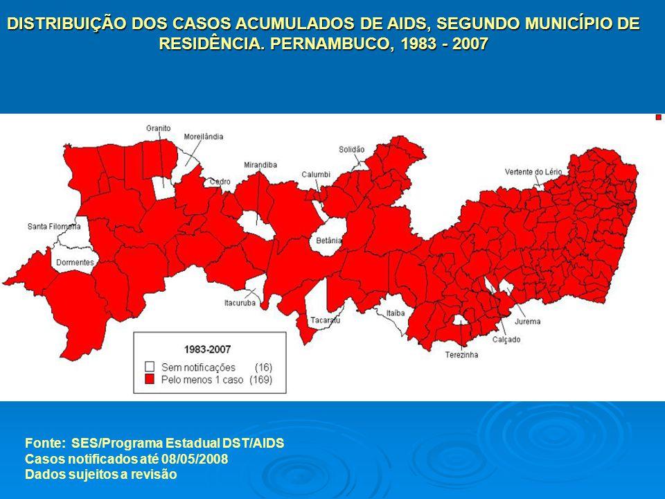DISTRIBUIÇÃO DOS CASOS ACUMULADOS DE AIDS, SEGUNDO MUNICÍPIO DE RESIDÊNCIA. PERNAMBUCO, 1983 - 2007 Fonte: SES/Programa Estadual DST/AIDS Casos notifi