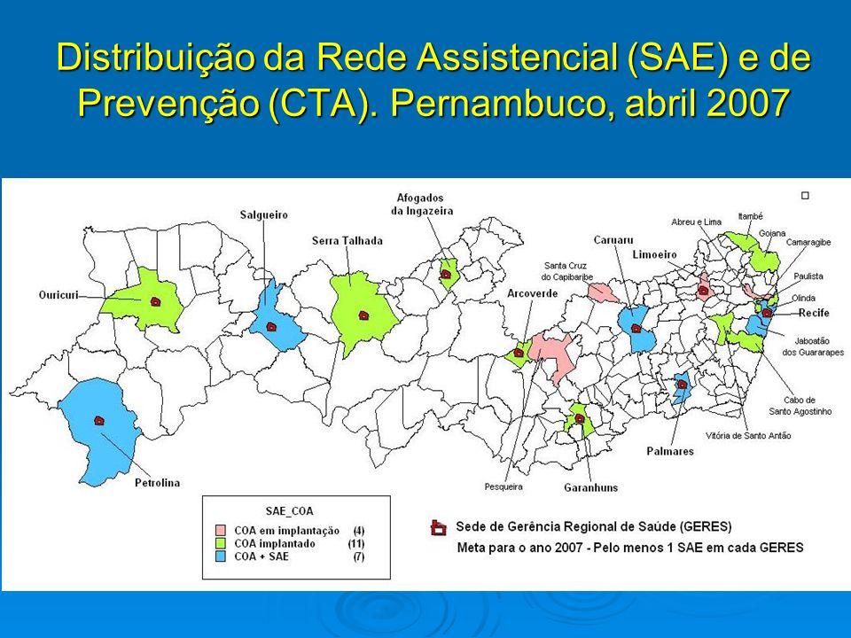 Distribuição da Rede Assistencial (SAE) e de Prevenção (CTA). Pernambuco, abril 2007