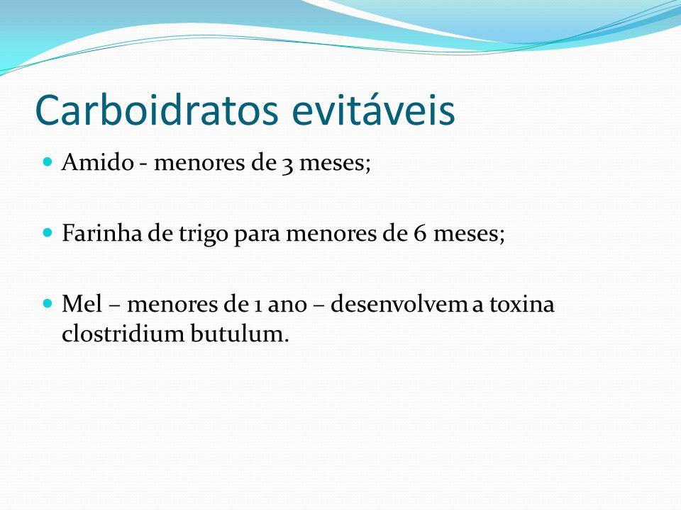 Carboidratos evitáveis Amido - menores de 3 meses; Farinha de trigo para menores de 6 meses; Mel – menores de 1 ano – desenvolvem a toxina clostridium butulum.