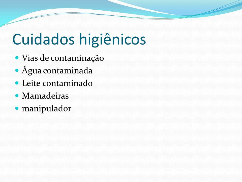 Cuidados higiênicos Vias de contaminação Água contaminada Leite contaminado Mamadeiras manipulador
