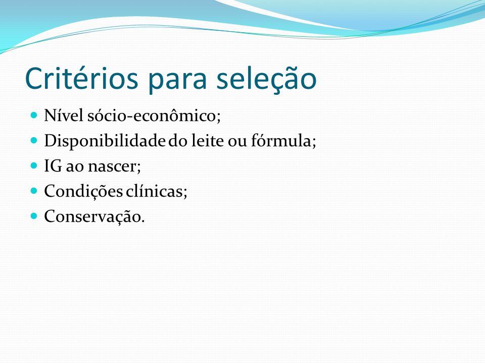 Critérios para seleção Nível sócio-econômico; Disponibilidade do leite ou fórmula; IG ao nascer; Condições clínicas; Conservação.