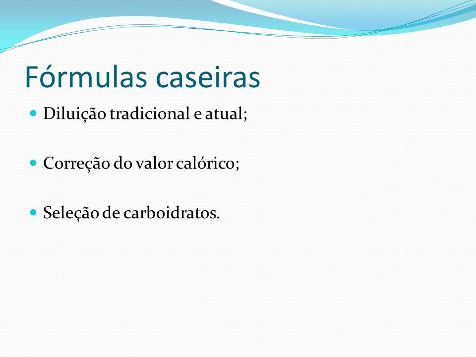 Fórmulas caseiras Diluição tradicional e atual; Correção do valor calórico; Seleção de carboidratos.