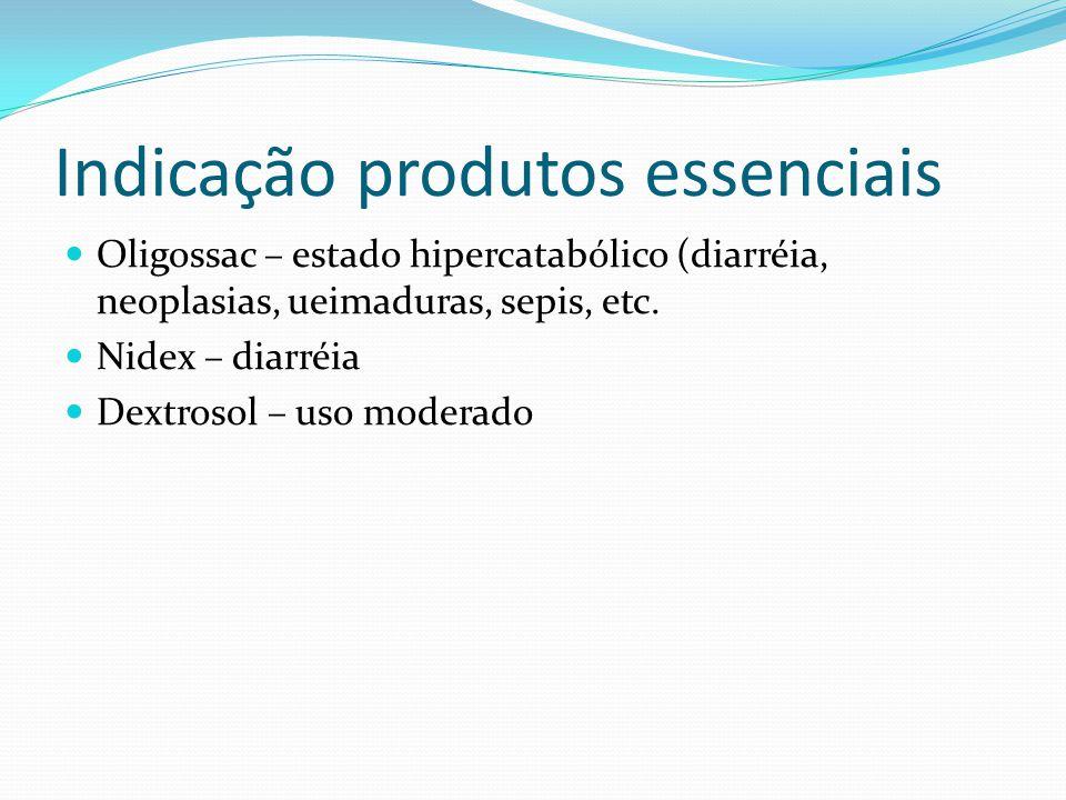 Indicação produtos essenciais Oligossac – estado hipercatabólico (diarréia, neoplasias, ueimaduras, sepis, etc.