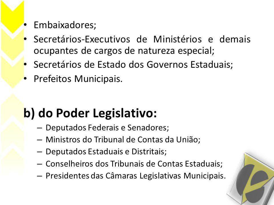 Embaixadores; Secretários-Executivos de Ministérios e demais ocupantes de cargos de natureza especial; Secretários de Estado dos Governos Estaduais; Prefeitos Municipais.