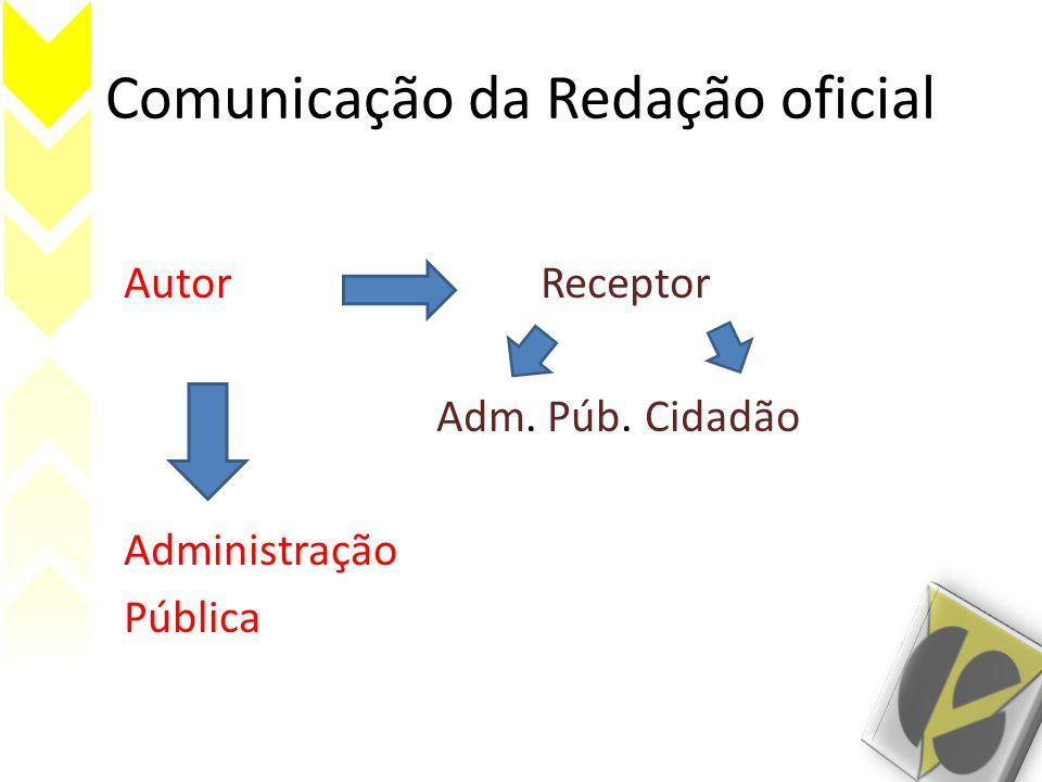 Comunicação da Redação oficial AutorReceptor Adm. Púb. Cidadão Administração Pública