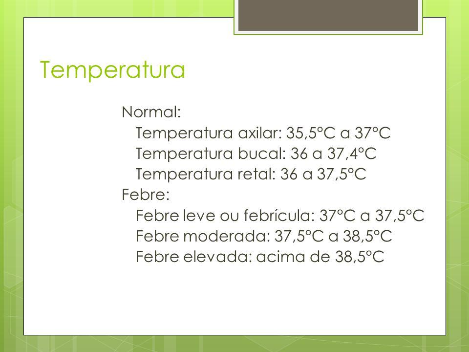 Temperatura Normal: Temperatura axilar: 35,5°C a 37°C Temperatura bucal: 36 a 37,4°C Temperatura retal: 36 a 37,5°C Febre: Febre leve ou febrícula: 37°C a 37,5°C Febre moderada: 37,5°C a 38,5°C Febre elevada: acima de 38,5°C