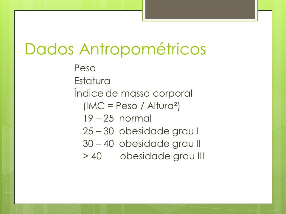 Dados Antropométricos Peso Estatura Índice de massa corporal (IMC = Peso / Altura²) 19 – 25 normal 25 – 30 obesidade grau I 30 – 40 obesidade grau II > 40 obesidade grau III