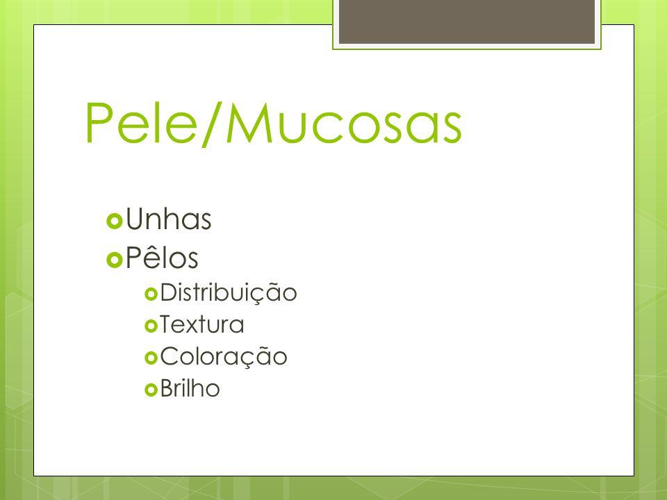 Pele/Mucosas Unhas Pêlos Distribuição Textura Coloração Brilho