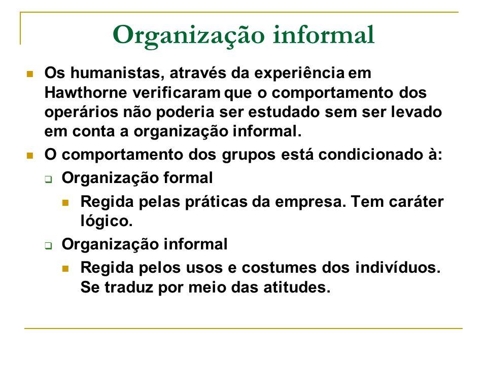 Organização informal Os humanistas, através da experiência em Hawthorne verificaram que o comportamento dos operários não poderia ser estudado sem ser