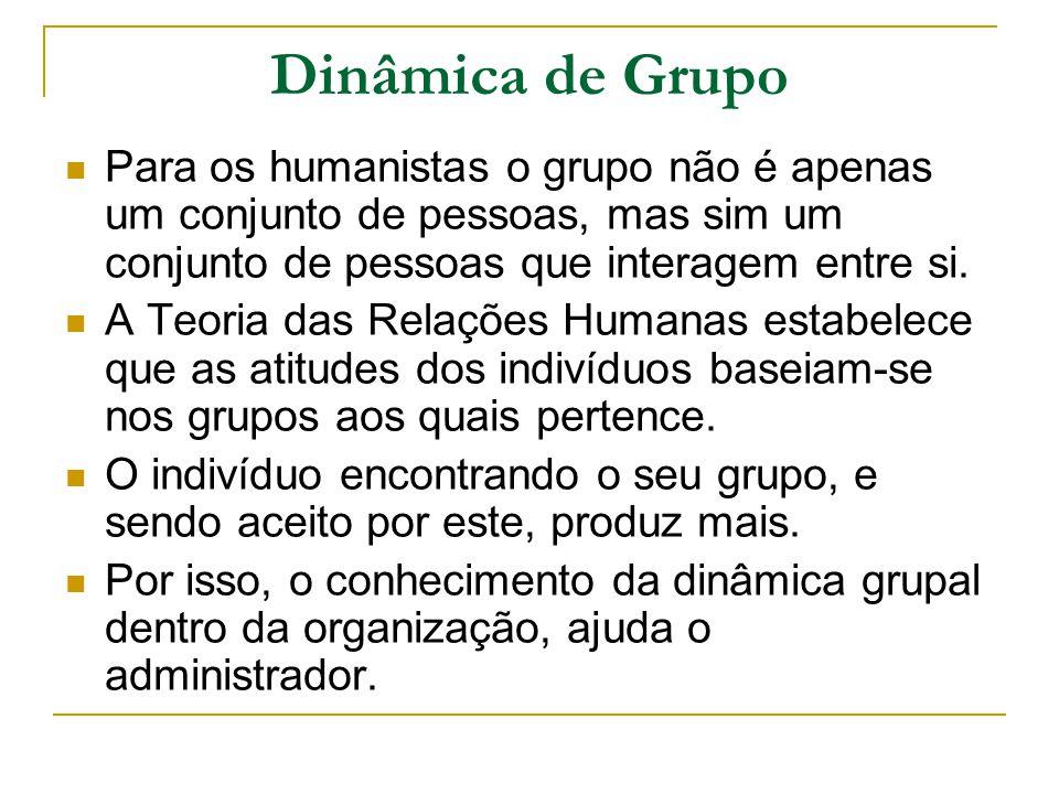 Dinâmica de Grupo Para os humanistas o grupo não é apenas um conjunto de pessoas, mas sim um conjunto de pessoas que interagem entre si. A Teoria das