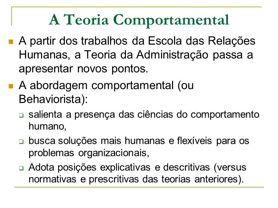A Teoria Comportamental A partir dos trabalhos da Escola das Relações Humanas, a Teoria da Administração passa a apresentar novos pontos. A abordagem