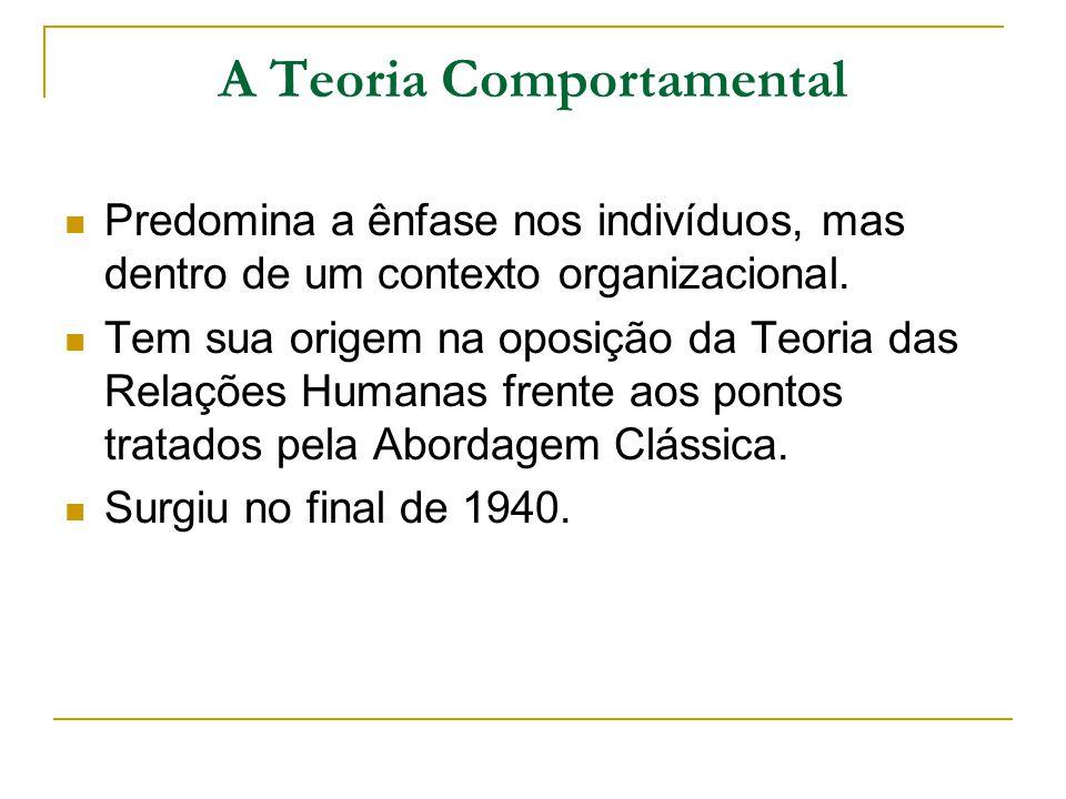 A Teoria Comportamental Predomina a ênfase nos indivíduos, mas dentro de um contexto organizacional. Tem sua origem na oposição da Teoria das Relações