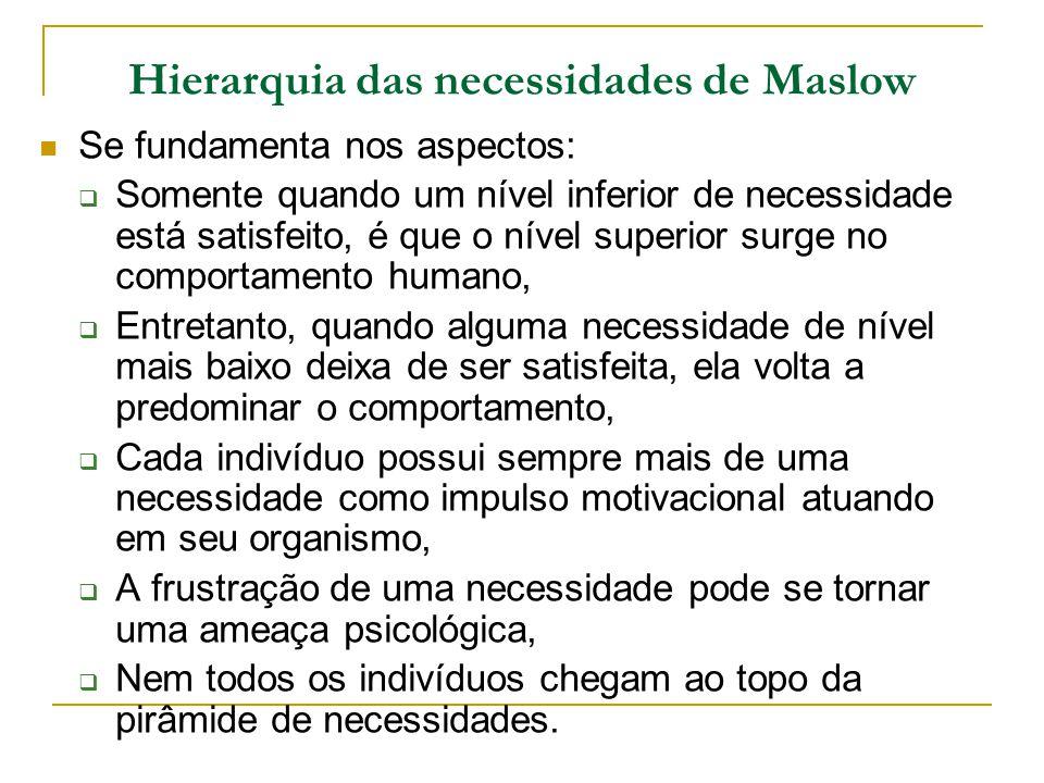 Hierarquia das necessidades de Maslow Se fundamenta nos aspectos: Somente quando um nível inferior de necessidade está satisfeito, é que o nível super