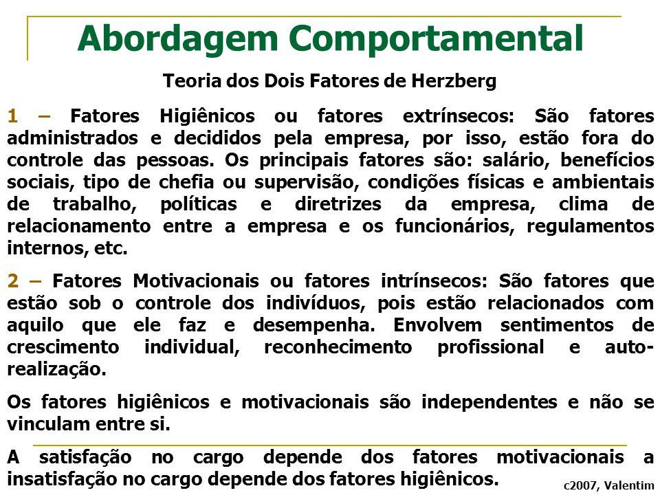Abordagem Comportamental Teoria dos Dois Fatores de Herzberg 1 – Fatores Higiênicos ou fatores extrínsecos: São fatores administrados e decididos pela
