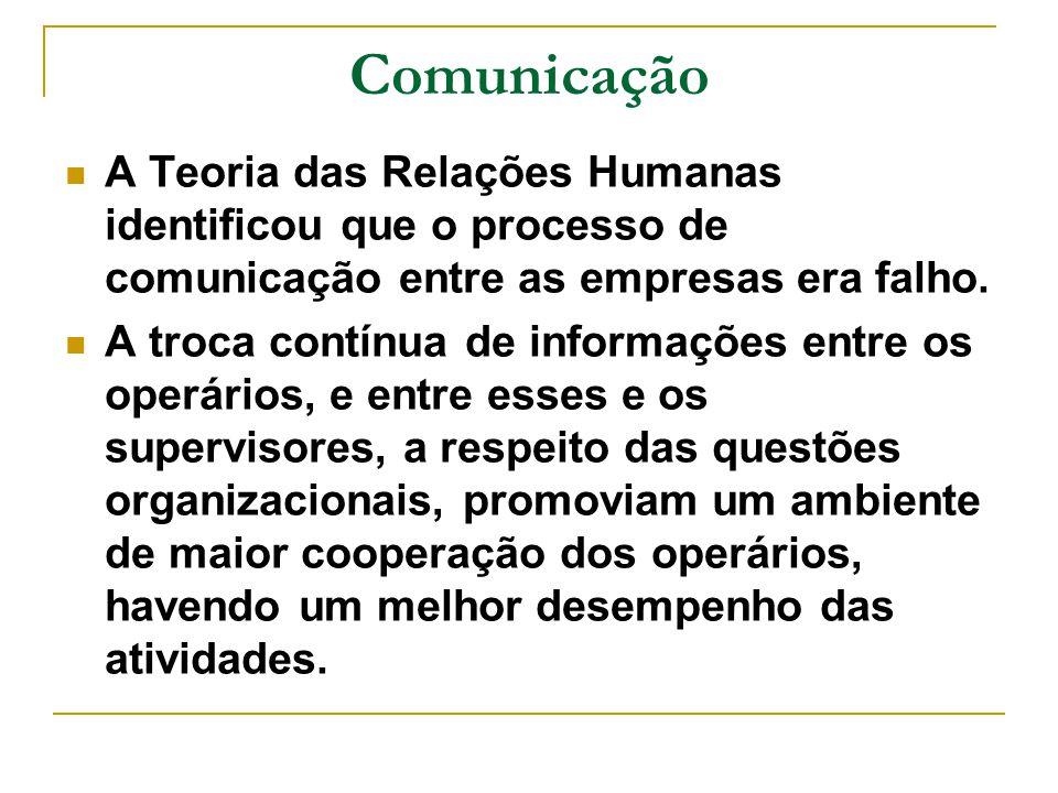 Comunicação A Teoria das Relações Humanas identificou que o processo de comunicação entre as empresas era falho. A troca contínua de informações entre